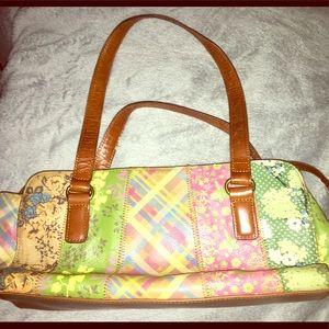 Fossil plaid/ floral design leather purse